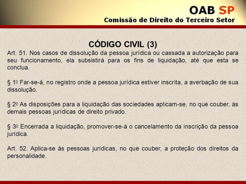 CÓDIGO CIVIL (3) Art. 51. Nos casos de dissolução da pessoa jurídica ou cassada a autorização para seu funcionamento, ela subsistirá para os fins de l