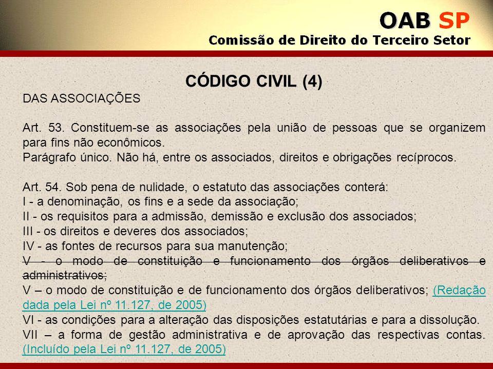 CÓDIGO CIVIL (4) DAS ASSOCIAÇÕES Art. 53. Constituem-se as associações pela união de pessoas que se organizem para fins não econômicos. Parágrafo únic