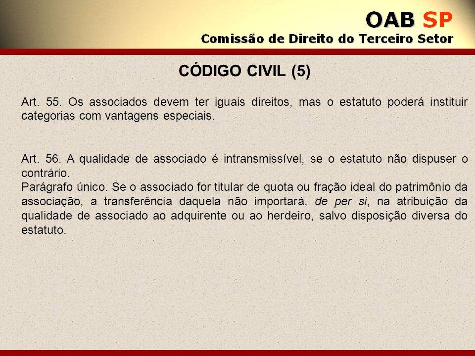 CÓDIGO CIVIL (5) Art. 55. Os associados devem ter iguais direitos, mas o estatuto poderá instituir categorias com vantagens especiais. Art. 56. A qual