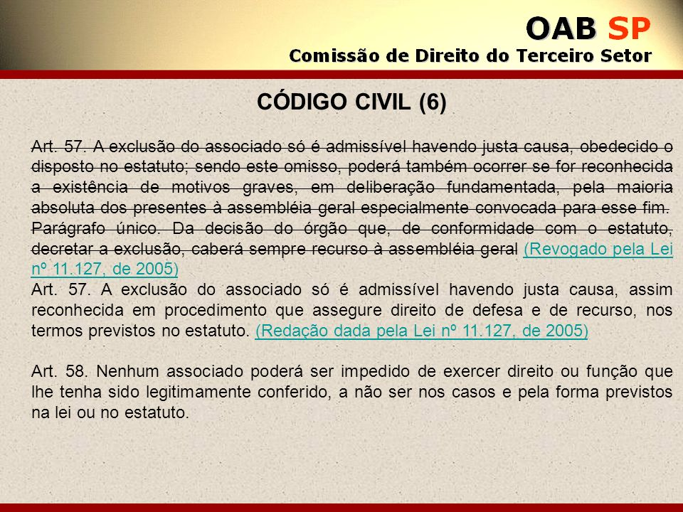 CÓDIGO CIVIL (6) Art. 57. A exclusão do associado só é admissível havendo justa causa, obedecido o disposto no estatuto; sendo este omisso, poderá tam