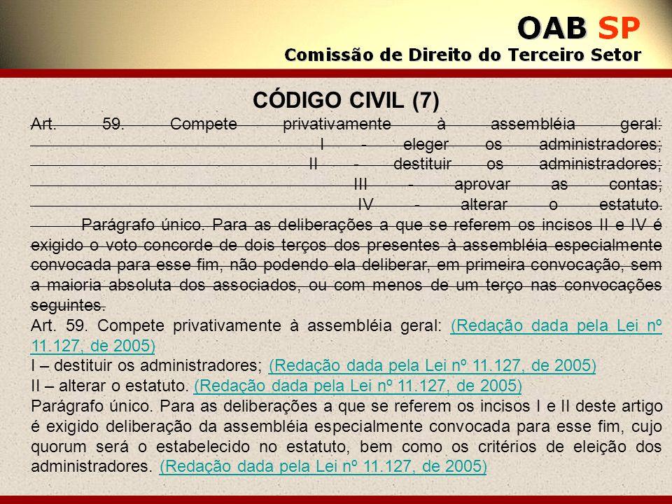 CÓDIGO CIVIL (7) Art. 59. Compete privativamente à assembléia geral: I - eleger os administradores; II - destituir os administradores; III - aprovar a