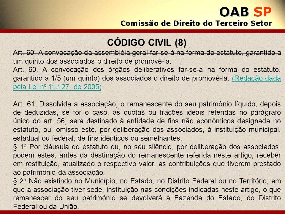 CÓDIGO CIVIL (8) Art. 60. A convocação da assembléia geral far-se-á na forma do estatuto, garantido a um quinto dos associados o direito de promovê-la