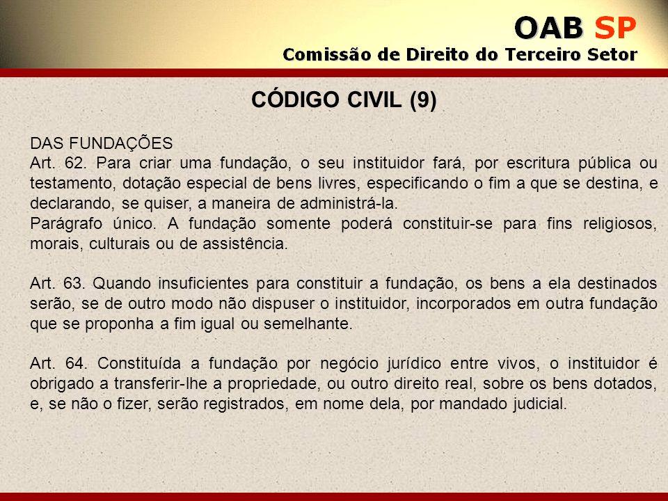 CÓDIGO CIVIL (9) DAS FUNDAÇÕES Art. 62. Para criar uma fundação, o seu instituidor fará, por escritura pública ou testamento, dotação especial de bens