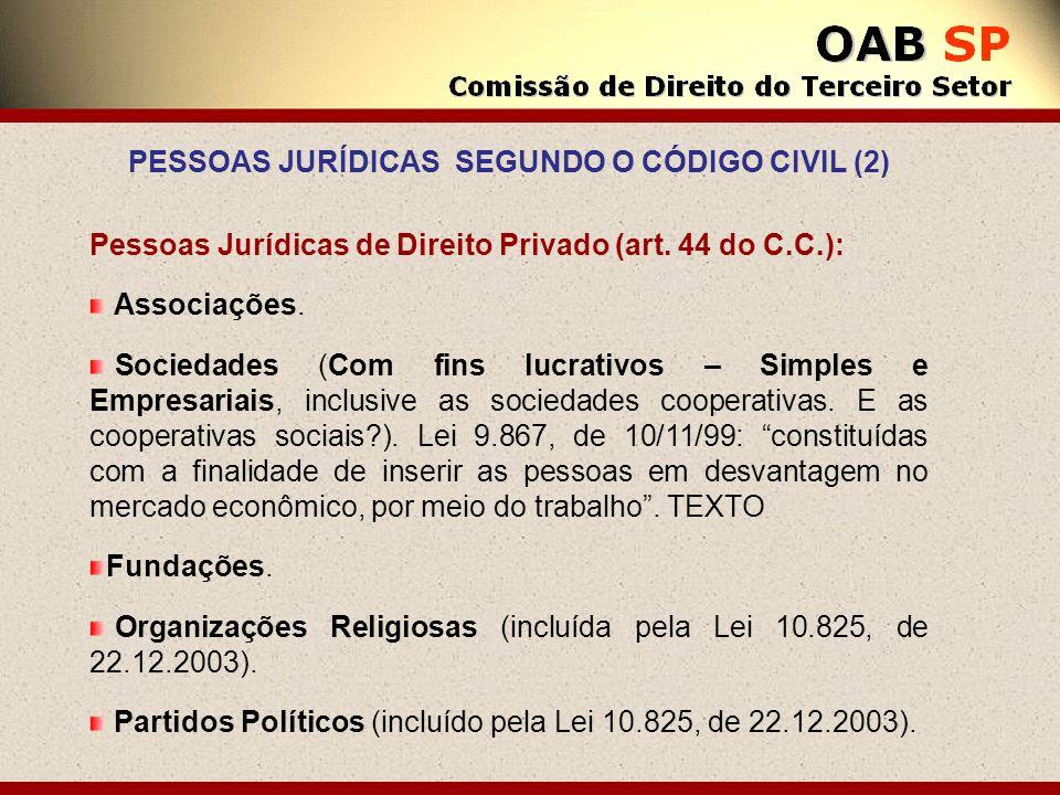 Pessoas Jurídicas de Direito Privado (art. 44 do C.C.): Associações. Sociedades (Com fins lucrativos – Simples e Empresariais, inclusive as sociedades