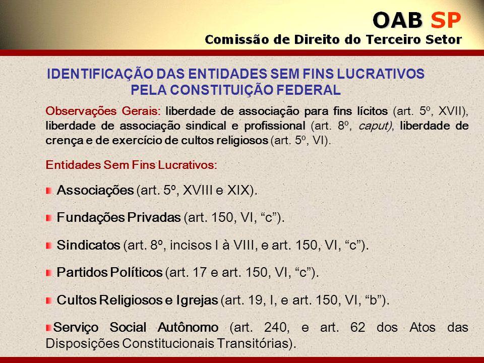 Observações Gerais: liberdade de associação para fins lícitos (art. 5º, XVII), liberdade de associação sindical e profissional (art. 8º, caput), liber