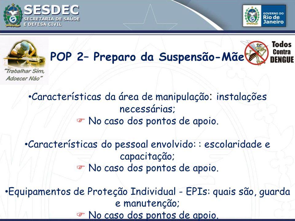 POP 2– Preparo da Suspensão-Mãe Características da área de manipulação : instalações necessárias; No caso dos pontos de apoio. Características do pess