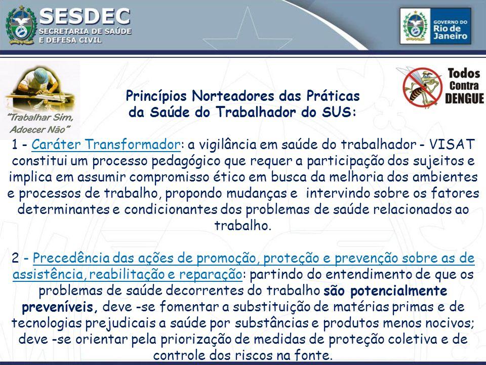 Princípios Norteadores das Práticas da Saúde do Trabalhador do SUS: 1 - Caráter Transformador: a vigilância em saúde do trabalhador - VISAT constitui