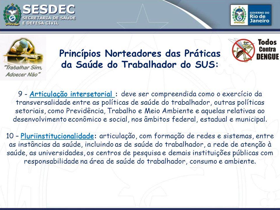 Princípios Norteadores das Práticas da Saúde do Trabalhador do SUS: 9 - Articulação intersetorial : deve ser compreendida como o exercício da transver
