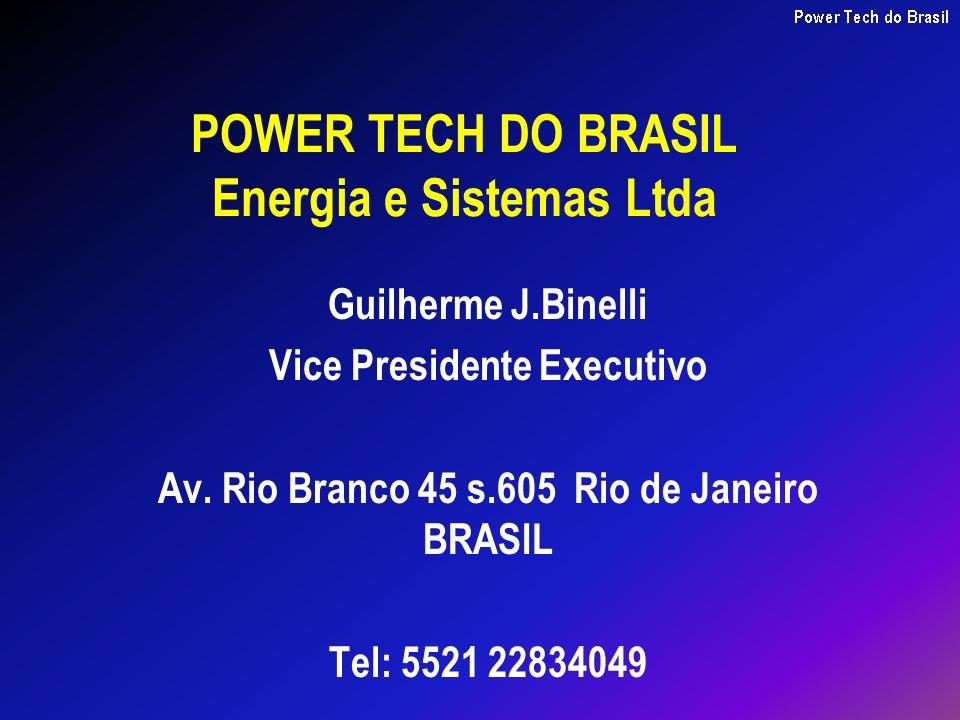 POWER TECH DO BRASIL Energia e Sistemas Ltda Guilherme J.Binelli Vice Presidente Executivo Av. Rio Branco 45 s.605 Rio de Janeiro BRASIL Tel: 5521 228