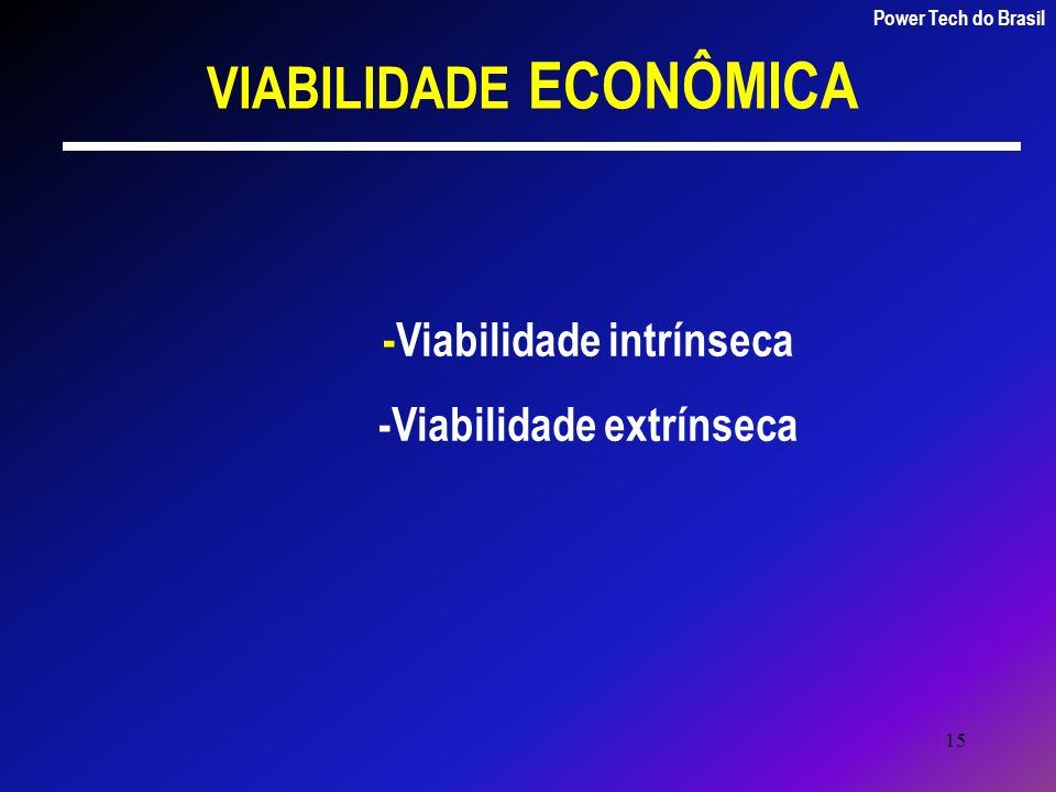 15 VIABILIDADE ECONÔMICA Power Tech do Brasil -Viabilidade intrínseca -Viabilidade extrínseca