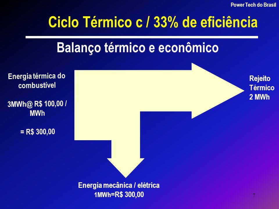 7 Energia térmica do combustível 3MWh@ R$ 100,00 / MWh = R$ 300,00 Energia mecânica / elétrica 1MWh =R$ 300,00 Rejeito Térmico 2 MWh Balanço térmico e