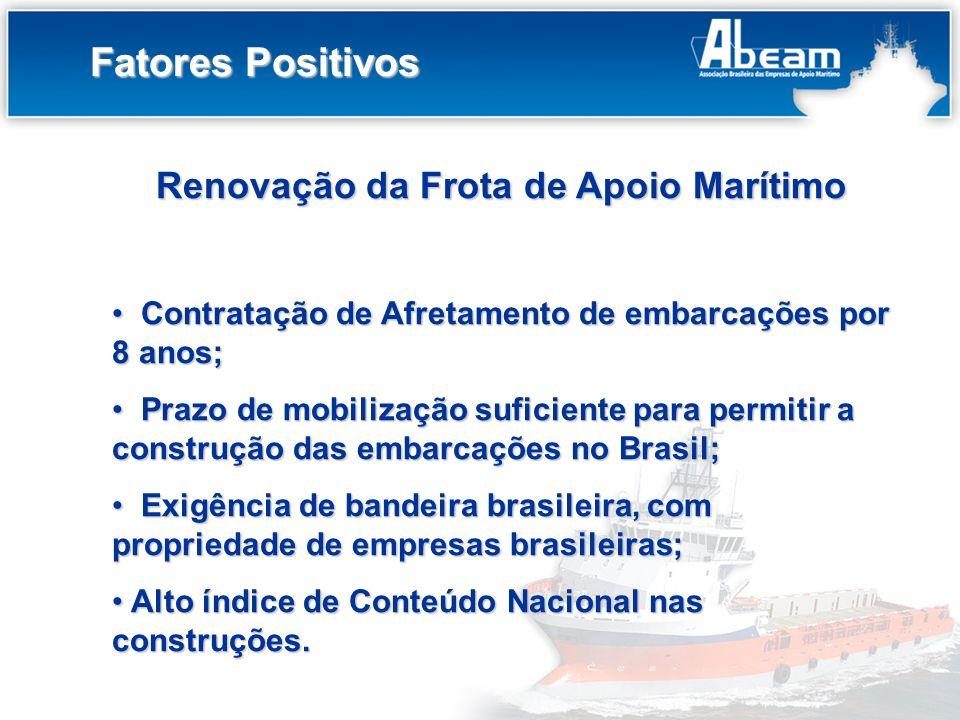 Título do Slide Fatores Positivos Renovação da Frota de Apoio Marítimo Contratação de Afretamento de embarcações por 8 anos; Contratação de Afretament