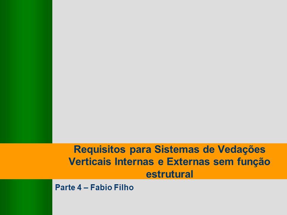 9,825,461,087,64 10,91 6,00 0,00 8,00 Requisitos para Sistemas de Vedações Verticais Internas e Externas sem função estrutural Parte 4 – Fabio Filho