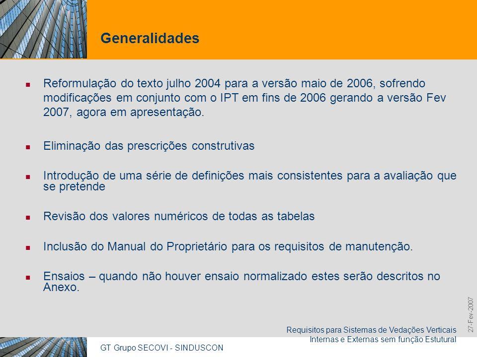 GT Grupo SECOVI - SINDUSCON Requisitos para Sistemas de Vedações Verticais Internas e Externas sem função Estutural 9,825,461,087,64 10,91 6,00 0,00 8
