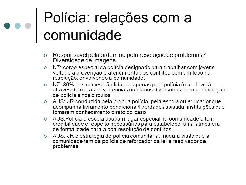 Polícia: relações com a comunidade Responsável pela ordem ou pela resolução de problemas.