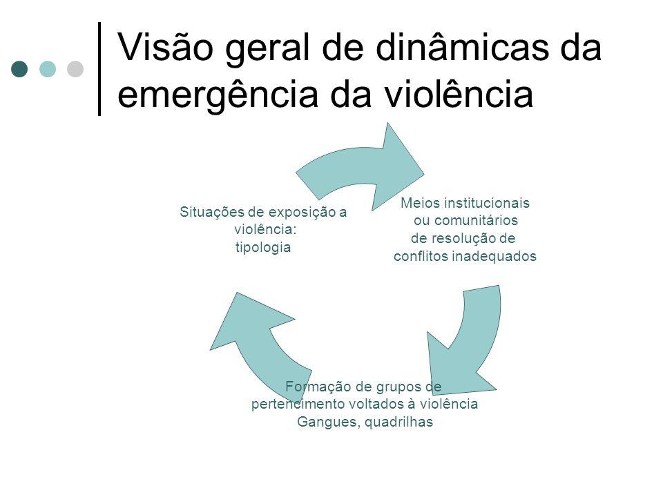 Visão geral de dinâmicas da emergência da violência Meios institucionais ou comunitários de resolução de conflitos inadequados Formação de grupos de pertencimento voltados à violência Gangues, quadrilhas Situações de exposição a violência: tipologia