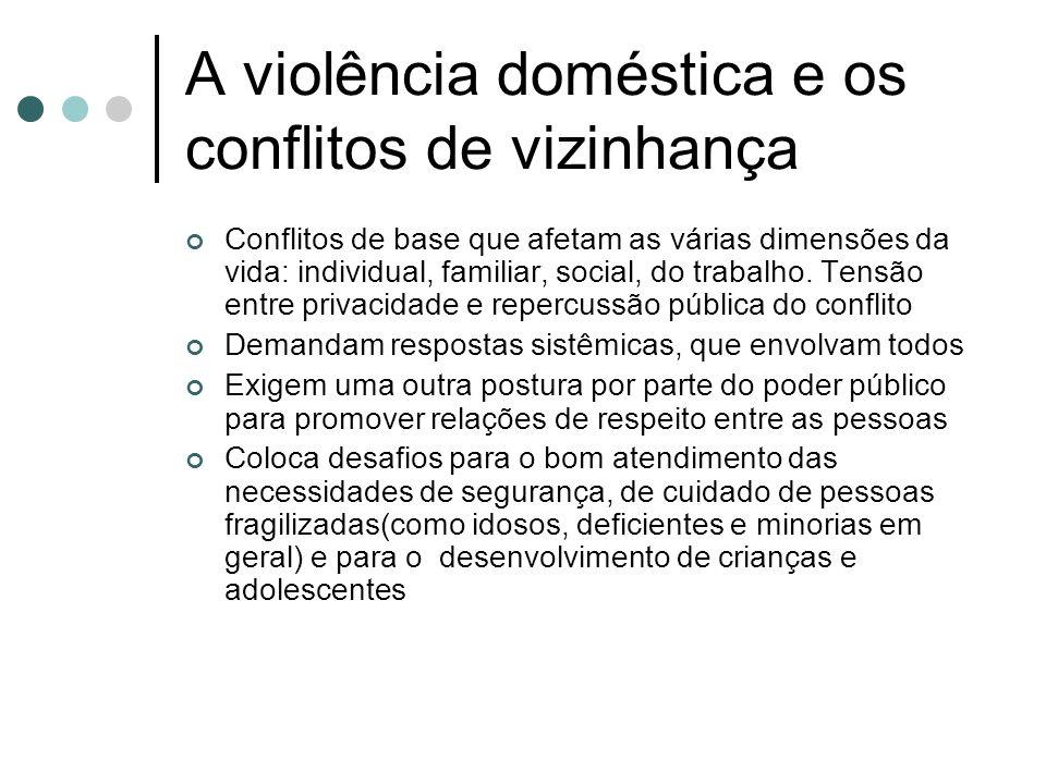A violência doméstica e os conflitos de vizinhança Conflitos de base que afetam as várias dimensões da vida: individual, familiar, social, do trabalho.