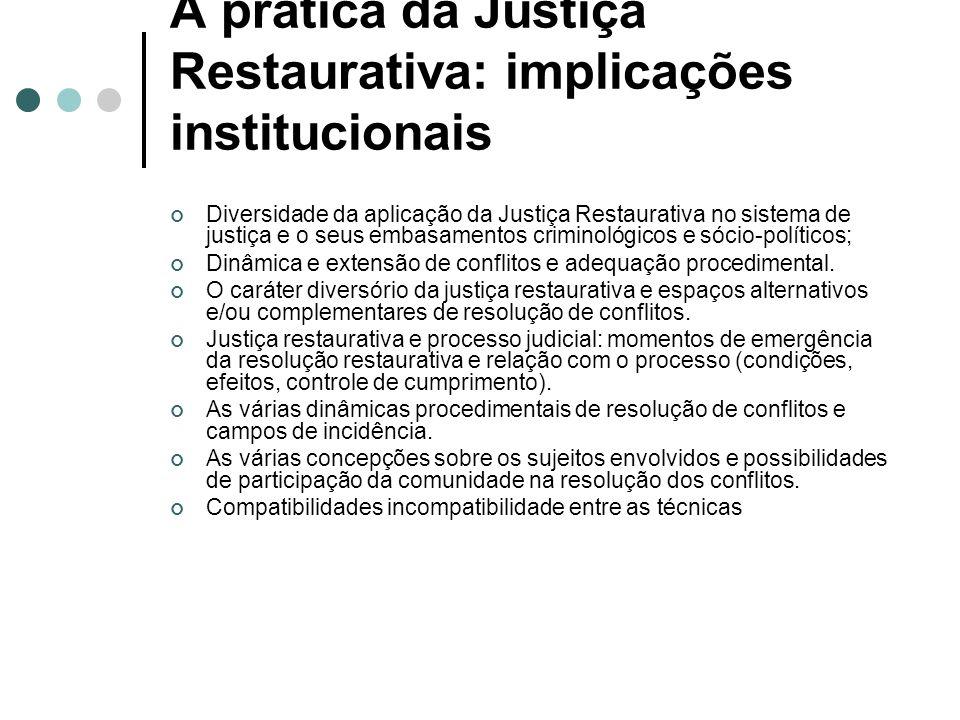 A prática da Justiça Restaurativa: implicações institucionais Diversidade da aplicação da Justiça Restaurativa no sistema de justiça e o seus embasamentos criminológicos e sócio-políticos; Dinâmica e extensão de conflitos e adequação procedimental.