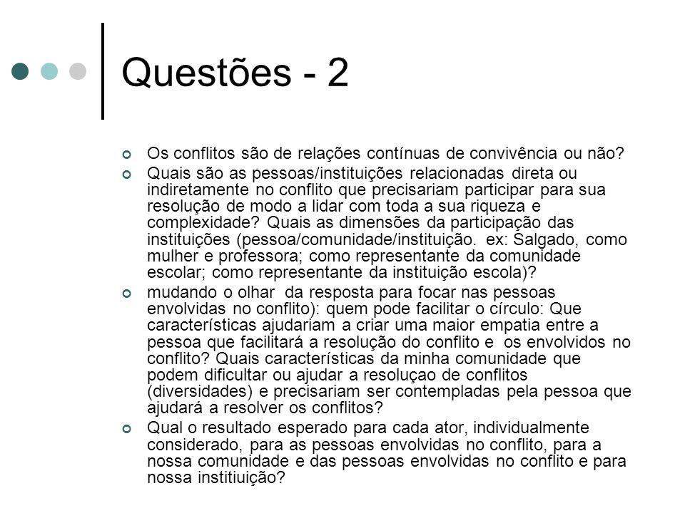 Questões - 2 Os conflitos são de relações contínuas de convivência ou não.