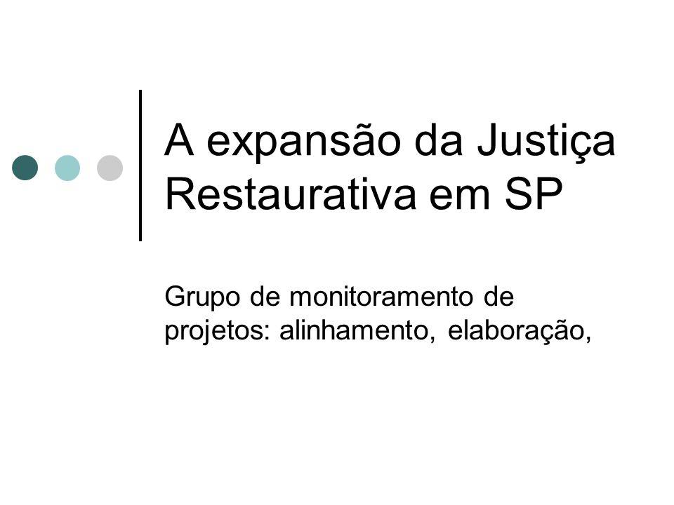 A expansão da Justiça Restaurativa em SP Grupo de monitoramento de projetos: alinhamento, elaboração,