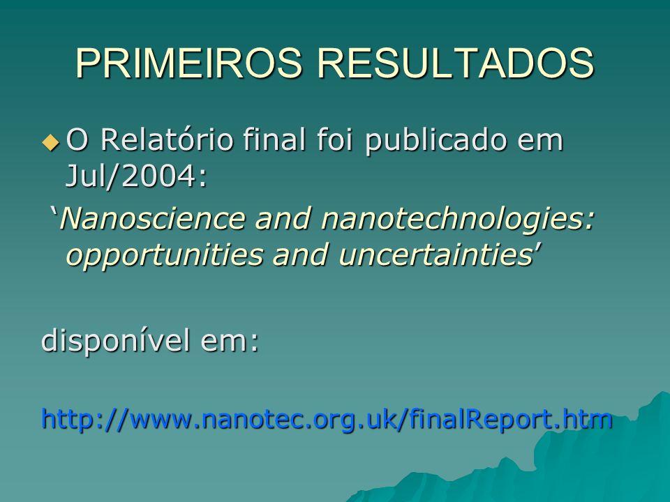 PRIMEIROS RESULTADOS O Relatório final foi publicado em Jul/2004: O Relatório final foi publicado em Jul/2004: Nanoscience and nanotechnologies: opportunities and uncertainties Nanoscience and nanotechnologies: opportunities and uncertainties disponível em: http://www.nanotec.org.uk/finalReport.htm