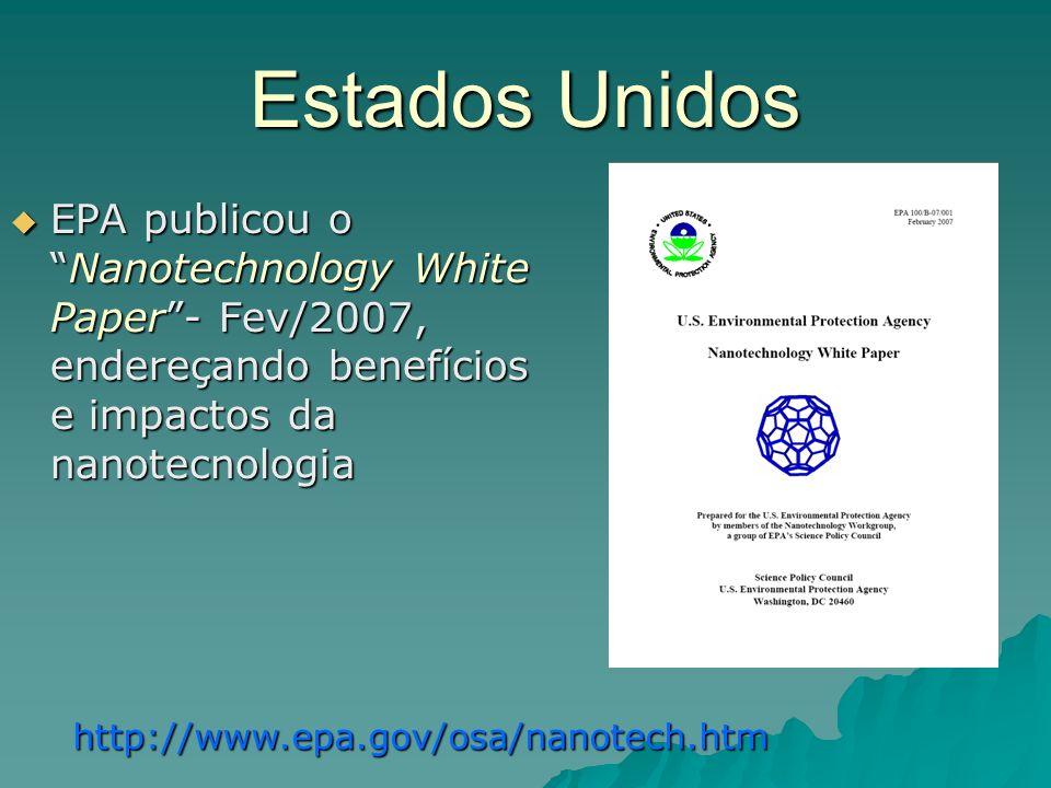 Estados Unidos EPA publicou oNanotechnology White Paper- Fev/2007, endereçando benefícios e impactos da nanotecnologia EPA publicou oNanotechnology White Paper- Fev/2007, endereçando benefícios e impactos da nanotecnologia http://www.epa.gov/osa/nanotech.htm