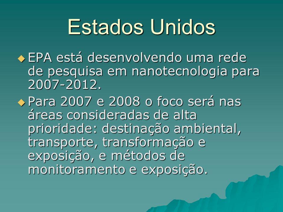 Estados Unidos EPA está desenvolvendo uma rede de pesquisa em nanotecnologia para 2007-2012.