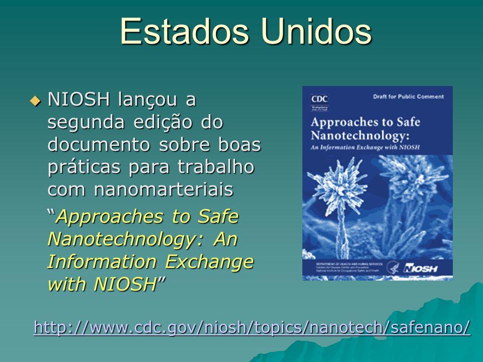 Estados Unidos NIOSH lançou a segunda edição do documento sobre boas práticas para trabalho com nanomarteriais NIOSH lançou a segunda edição do documento sobre boas práticas para trabalho com nanomarteriais Approaches to Safe Nanotechnology: An Information Exchange with NIOSHApproaches to Safe Nanotechnology: An Information Exchange with NIOSH http://www.cdc.gov/niosh/topics/nanotech/safenano/