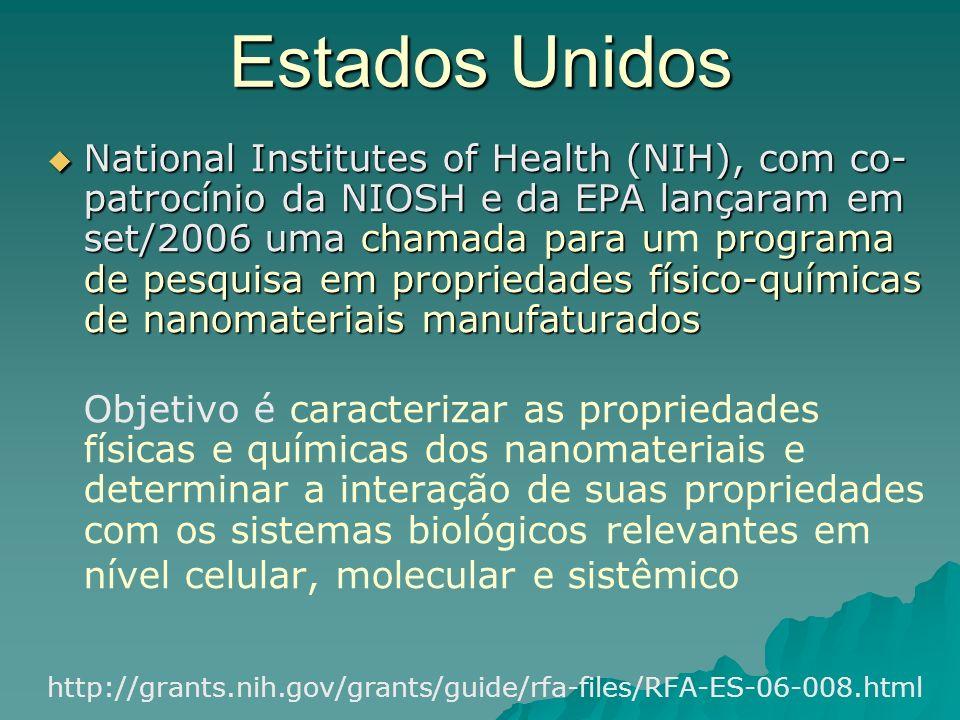 Estados Unidos National Institutes of Health (NIH), com co- patrocínio da NIOSH e da EPA lançaram em set/2006 uma chamada para uprograma de pesquisa em propriedades físico-químicas de nanomateriais manufaturados National Institutes of Health (NIH), com co- patrocínio da NIOSH e da EPA lançaram em set/2006 uma chamada para um programa de pesquisa em propriedades físico-químicas de nanomateriais manufaturados Objetivo é caracterizar as propriedades físicas e químicas dos nanomateriais e determinar a interação de suas propriedades com os sistemas biológicos relevantes em nível celular, molecular e sistêmico http://grants.nih.gov/grants/guide/rfa-files/RFA-ES-06-008.html
