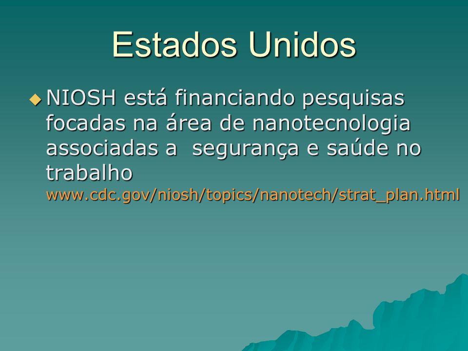 Estados Unidos NIOSH está financiando pesquisas focadas na área de nanotecnologia associadas a segurança e saúde no trabalho www.cdc.gov/niosh/topics/nanotech/strat_plan.html NIOSH está financiando pesquisas focadas na área de nanotecnologia associadas a segurança e saúde no trabalho www.cdc.gov/niosh/topics/nanotech/strat_plan.html