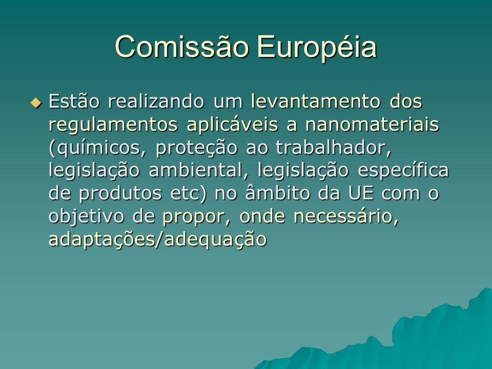 Comissão Européia Estão realizando um levantamento dos regulamentos aplicáveis a nanomateriais (químicos, proteção ao trabalhador, legislação ambiental, legislação específica de produtos etc) no âmbito da UE com o objetivo de propor, onde necessário, adaptações/adequação Estão realizando um levantamento dos regulamentos aplicáveis a nanomateriais (químicos, proteção ao trabalhador, legislação ambiental, legislação específica de produtos etc) no âmbito da UE com o objetivo de propor, onde necessário, adaptações/adequação
