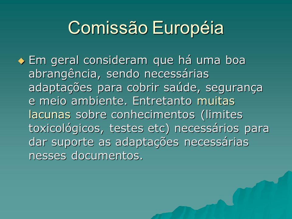 Comissão Européia Em geral consideram que há uma boa abrangência, sendo necessárias adaptações para cobrir saúde, segurança e meio ambiente.