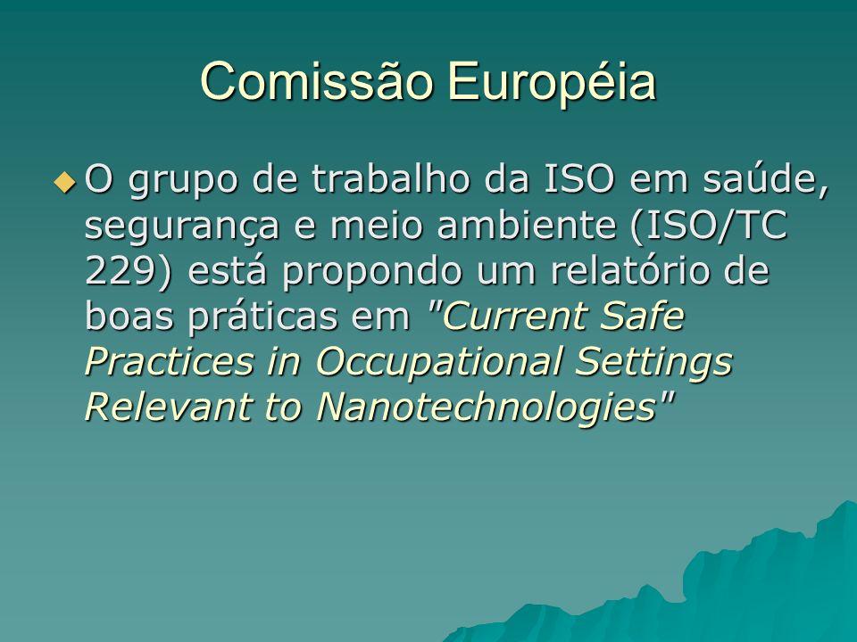 Comissão Européia O grupo de trabalho da ISO em saúde, segurança e meio ambiente (ISO/TC 229) está propondo um relatório de boas práticas em Current Safe Practices in Occupational Settings Relevant to Nanotechnologies O grupo de trabalho da ISO em saúde, segurança e meio ambiente (ISO/TC 229) está propondo um relatório de boas práticas em Current Safe Practices in Occupational Settings Relevant to Nanotechnologies