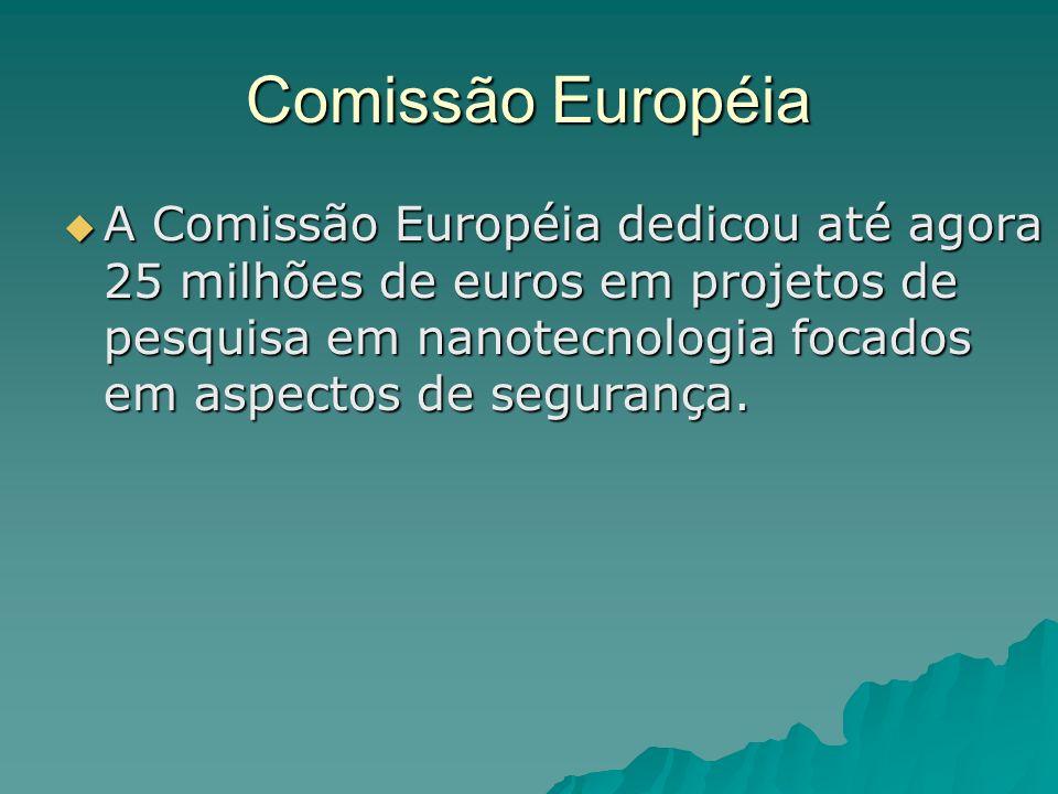 Comissão Européia A Comissão Européia dedicou até agora 25 milhões de euros em projetos de pesquisa em nanotecnologia focados em aspectos de segurança.