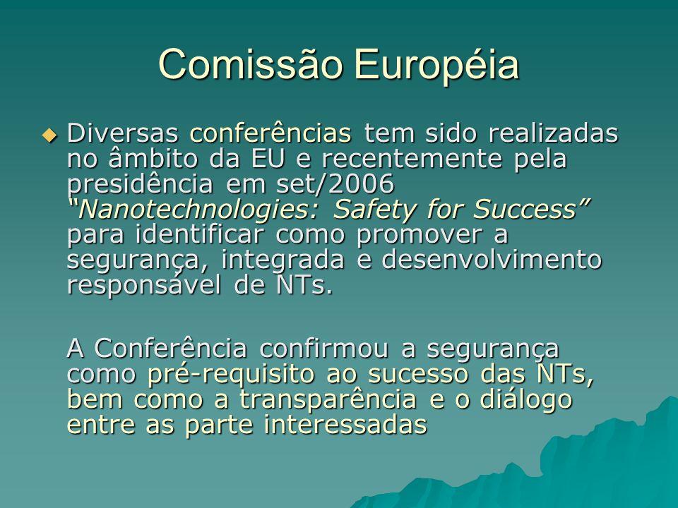 Comissão Européia Diversas conferências tem sido realizadas no âmbito da EU e recentemente pela presidência em set/2006 Nanotechnologies: Safety for Success para identificar como promover a segurança, integrada e desenvolvimento responsável de NTs.