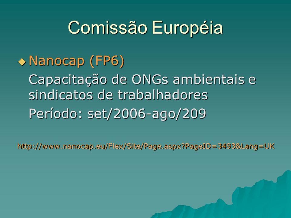 Comissão Européia Nanocap (FP6) Nanocap (FP6) Capacitação de ONGs ambientais e sindicatos de trabalhadores Período: set/2006-ago/209 http://www.nanocap.eu/Flex/Site/Page.aspx PageID=3493&Lang=UK
