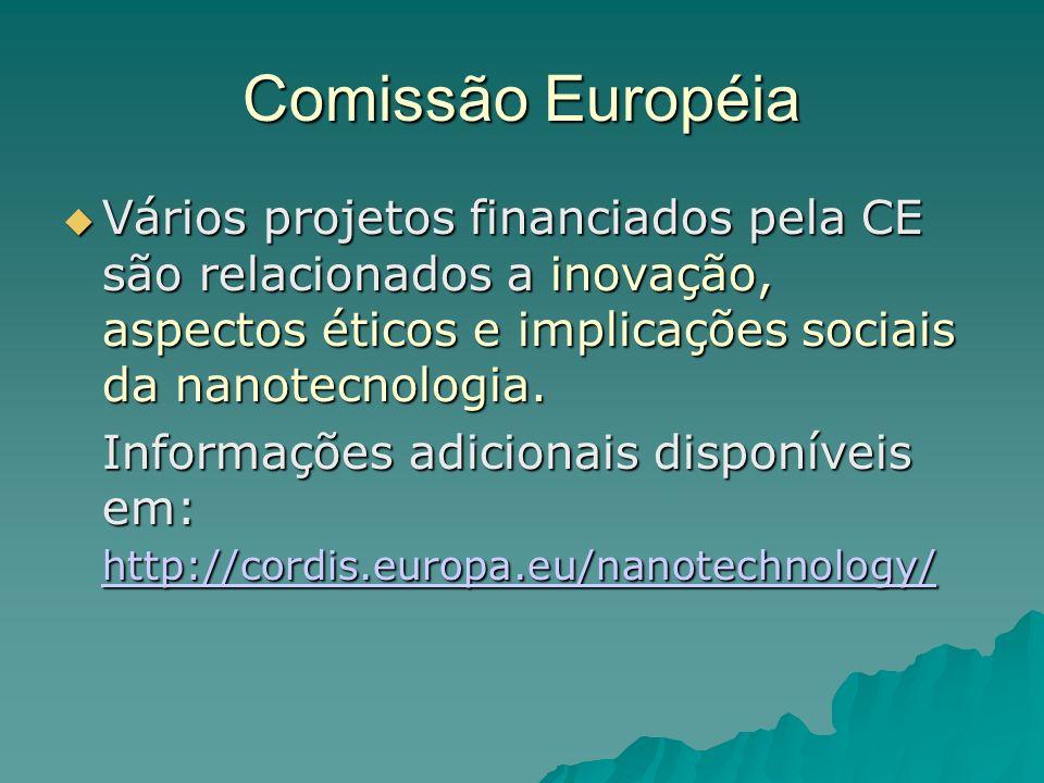 Comissão Européia Vários projetos financiados pela CE são relacionados a inovação, aspectos éticos e implicações sociais da nanotecnologia.