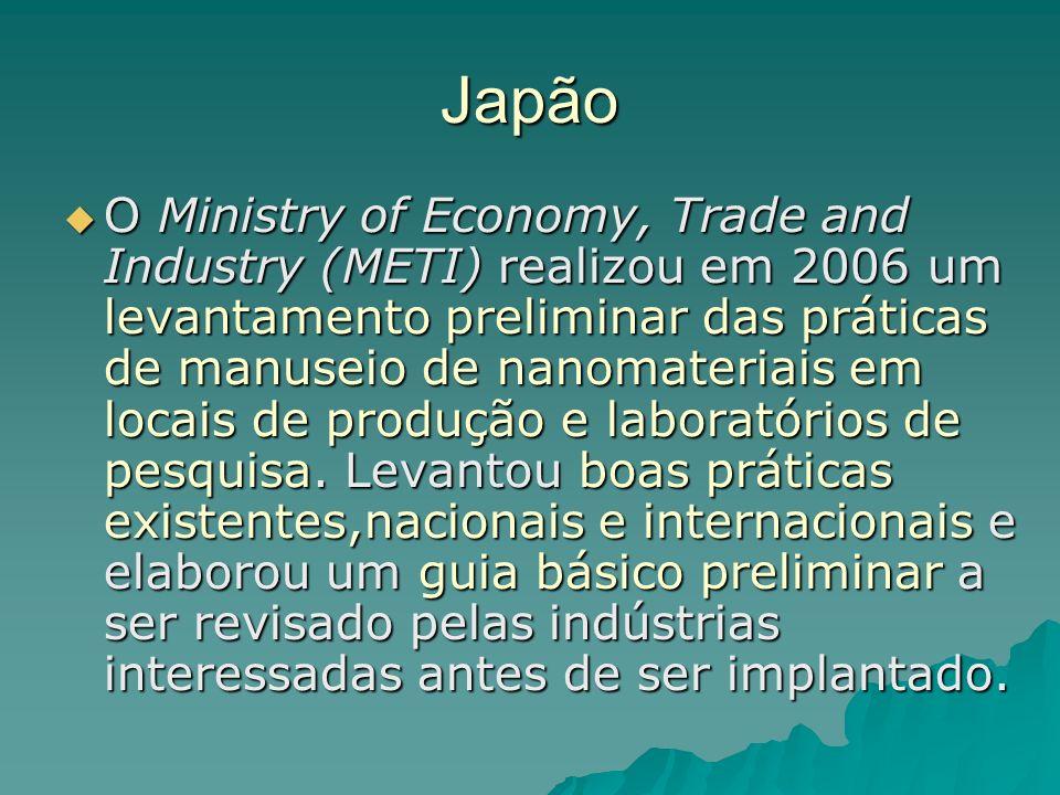 Japão O Ministry of Economy, Trade and Industry (METI) realizou em 2006 um levantamento preliminar das práticas de manuseio de nanomateriais em locais de produção e laboratórios de pesquisa.