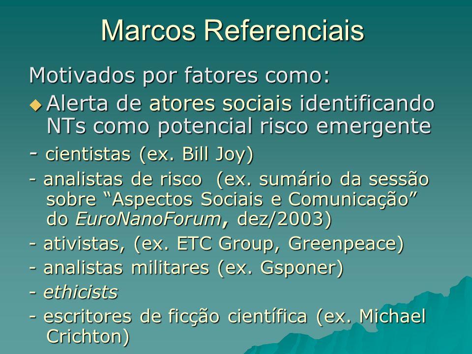 Marcos Referenciais Motivados por fatores como: Alerta de atores sociais identificando NTs como potencial risco emergente Alerta de atores sociais identificando NTs como potencial risco emergente - cientistas (ex.