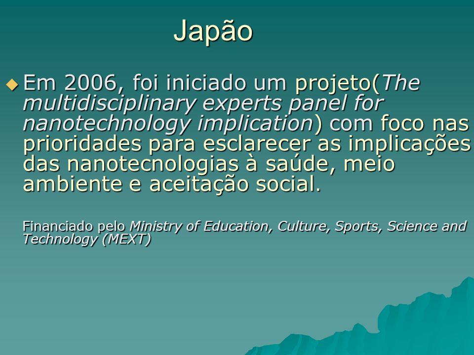 Japão Em 2006, foi iniciado um projeto(The multidisciplinary experts panel for nanotechnology implication) com foco nas prioridades para esclarecer as implicações das nanotecnologias à saúde, meio ambiente e aceitação social.