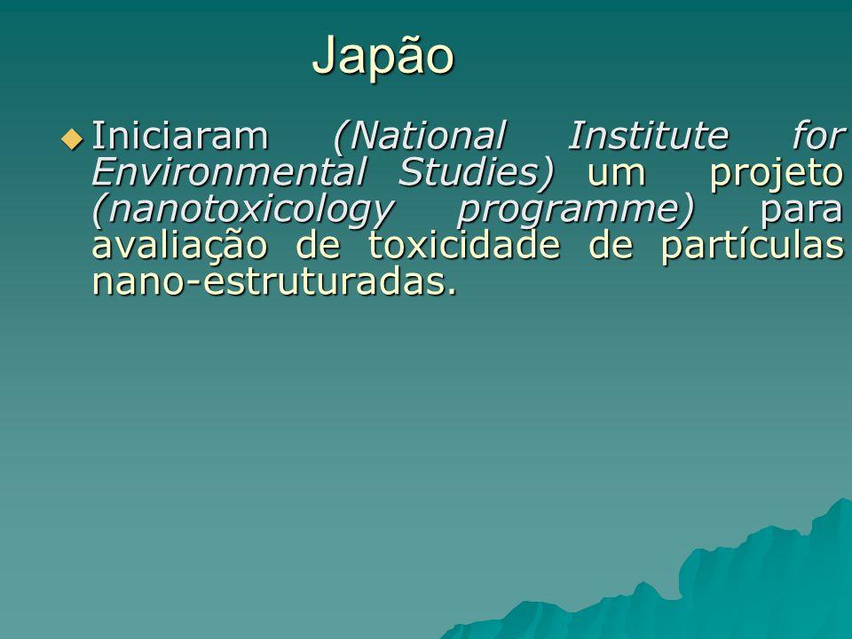 Japão Iniciaram (National Institute for Environmental Studies) um projeto (nanotoxicology programme) para avaliação de toxicidade de partículas nano-estruturadas.