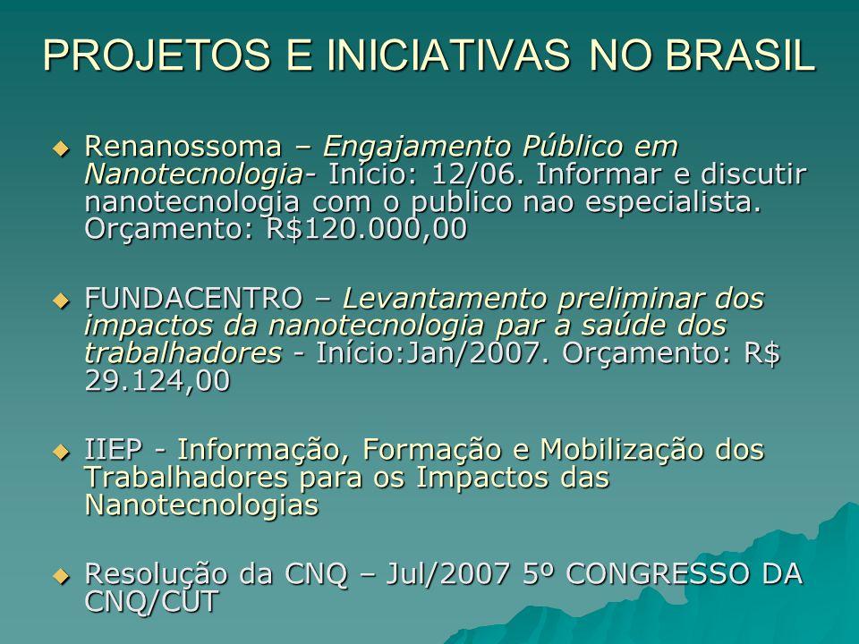 PROJETOS E INICIATIVAS NO BRASIL Renanossoma – Engajamento Público em Nanotecnologia- Início: 12/06.