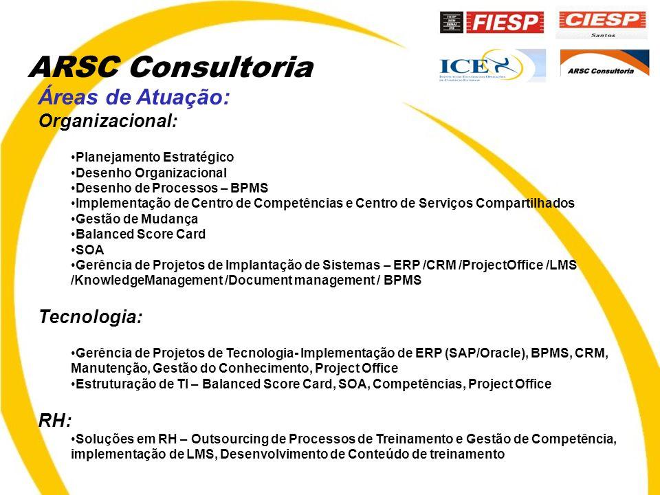 ARSC Consultoria Áreas de Atuação: Organizacional: Planejamento Estratégico Desenho Organizacional Desenho de Processos – BPMS Implementação de Centro de Competências e Centro de Serviços Compartilhados Gestão de Mudança Balanced Score Card SOA Gerência de Projetos de Implantação de Sistemas – ERP /CRM /ProjectOffice /LMS /KnowledgeManagement /Document management / BPMS Tecnologia: Gerência de Projetos de Tecnologia- Implementação de ERP (SAP/Oracle), BPMS, CRM, Manutenção, Gestão do Conhecimento, Project Office Estruturação de TI – Balanced Score Card, SOA, Competências, Project Office RH: Soluções em RH – Outsourcing de Processos de Treinamento e Gestão de Competência, implementação de LMS, Desenvolvimento de Conteúdo de treinamento