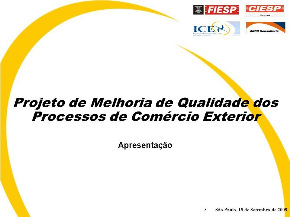 São Paulo, 18 de Setembro de 2009 Projeto de Melhoria de Qualidade dos Processos de Comércio Exterior Apresentação