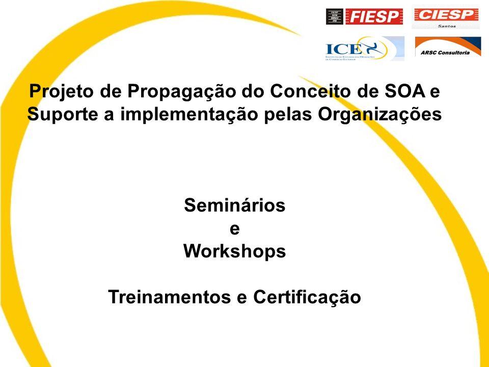 Projeto de Propagação do Conceito de SOA e Suporte a implementação pelas Organizações Seminários e Workshops Treinamentos e Certificação