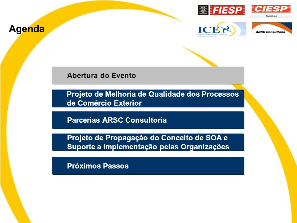 Agenda Abertura do Evento Parcerias ARSC Consultoria Projeto de Propagação do Conceito de SOA e Suporte a implementação pelas Organizações Projeto de Melhoria de Qualidade dos Processos de Comércio Exterior Próximos Passos