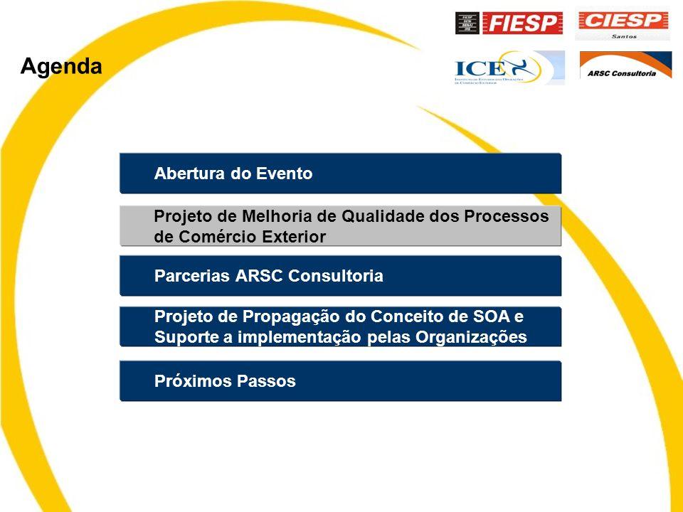 Abertura do Evento Parcerias ARSC Consultoria Projeto de Propagação do Conceito de SOA e Suporte a implementação pelas Organizações Projeto de Melhoria de Qualidade dos Processos de Comércio Exterior Próximos Passos Agenda