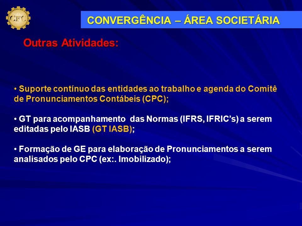 Suporte contínuo das entidades ao trabalho e agenda do Comitê de Pronunciamentos Contábeis (CPC); GT para acompanhamento das Normas (IFRS, IFRICs) a s