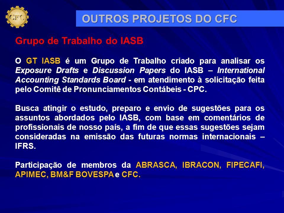 Grupo de Trabalho do IASB O GT IASB é um Grupo de Trabalho criado para analisar os Exposure Drafts e Discussion Papers do IASB – International Account