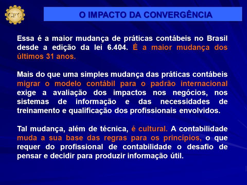 Essa é a maior mudança de práticas contábeis no Brasil desde a edição da lei 6.404. É a maior mudança dos últimos 31 anos. Mais do que uma simples mud